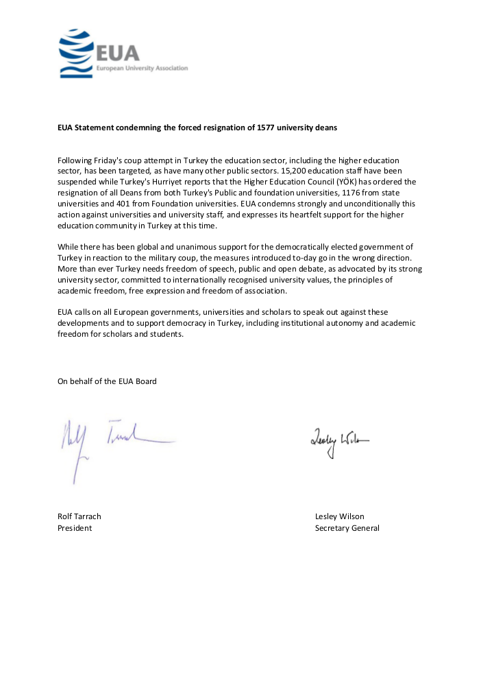 EUA Statement condemning the forced resignation of 1577 university deans